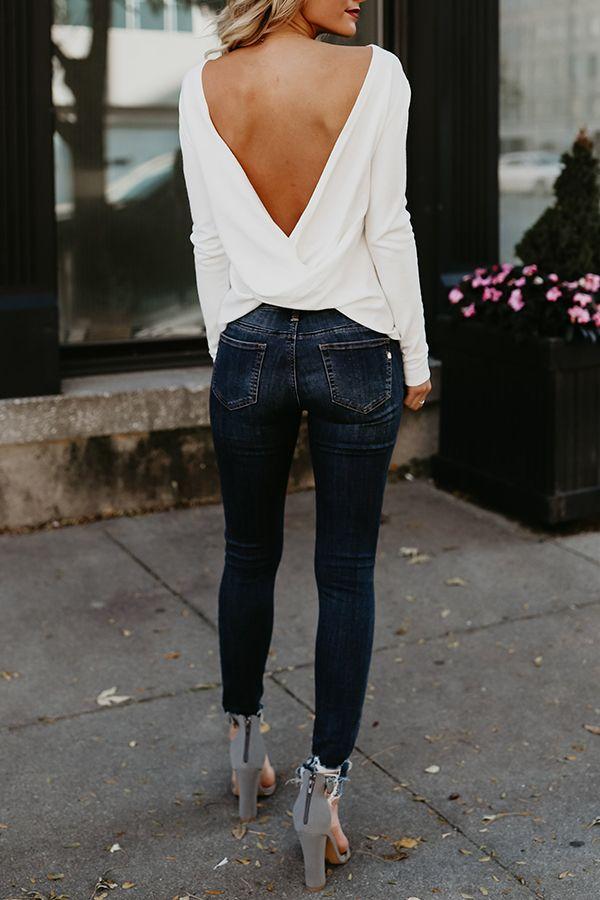 Sexy Round Neck Asymmetric Hem Backless Plain T-Shirts – Bellalike