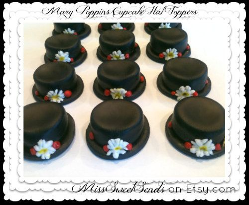Cupcake Toppers Mary Poppins Hat by MissSweetSends on Etsy, $16.95