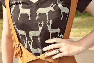 DIY hand-painted print shirt (like the horse print dress, but a different method).