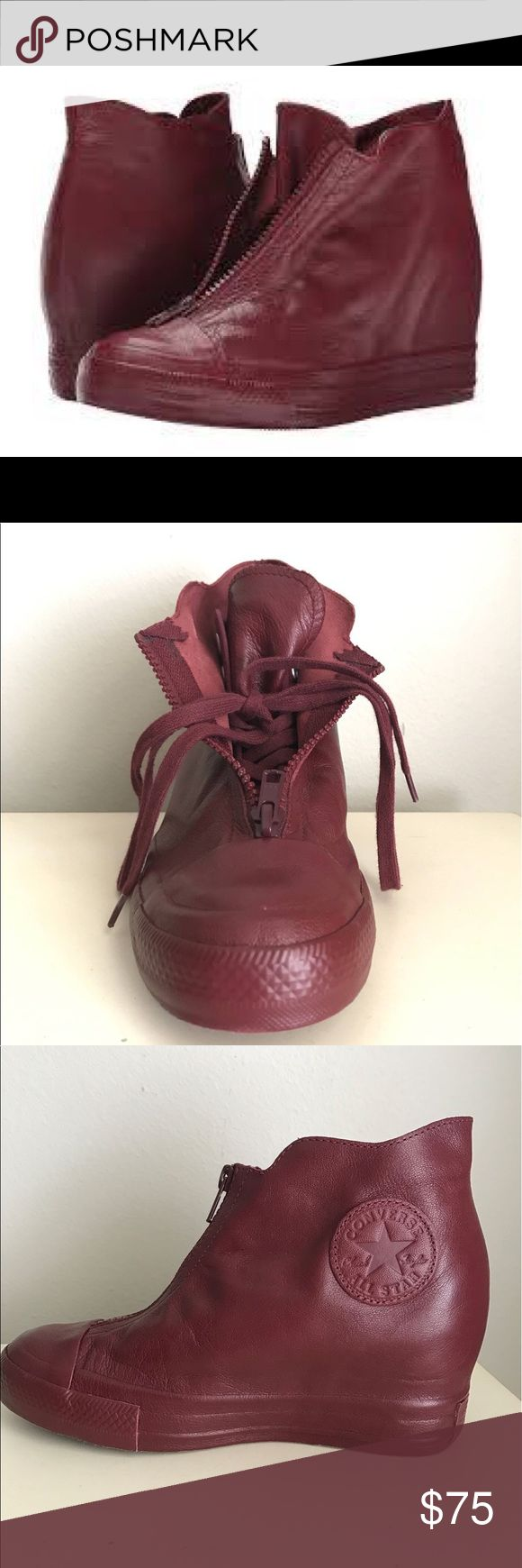 NEW Leather Converse Bordeaux CT All Stars Wedge NEW Leather Converse Bordeaux CT All Stars Mid Shroud Wedge Sneakers. Currently on Zappos for $120 Sz 7 Converse Shoes