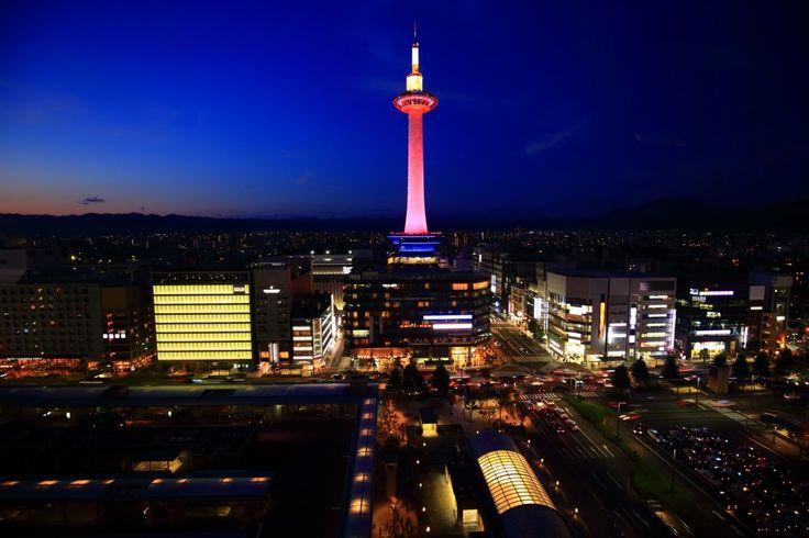 京都タワー ピンクリボンライトアップ Japan,Kyoto Tower,Light-up of Pink Ribbon Campaign
