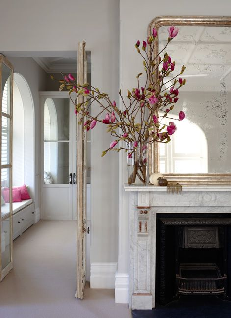 Justine Hugh Jones Design - living rooms - white marble fireplace, marble fireplace, fireplace mirror, mirror over fireplace, mirror above f...