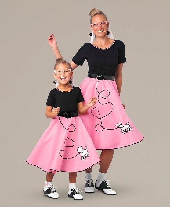 Mother & Daughter Fab '50s Poodle Skirt Costumes