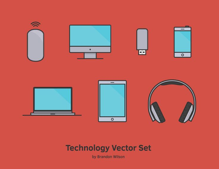 Technology vector set by graphic designer Brandon Wilson.