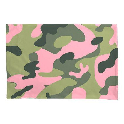 Country Pink Green Army Camo Camouflage Pattern Pillowcase