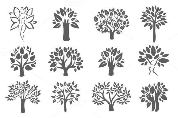 Tree logo illustration icon set by AliceNoir on @creativemarket