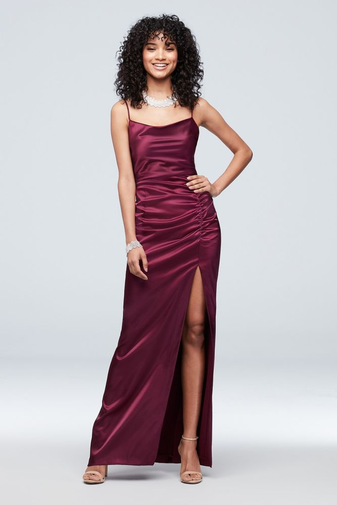Ruched Low Back Satin Cowlneck Sheath Dress Style A21847 Raisin 8 Necklines For Dresses Prom Dresses For Sale Pretty Prom Dresses