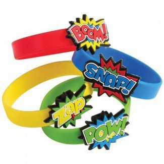 Superhero Party Supplies, Superhero Rubber Bracelets, Party Favors