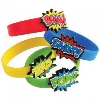 Superhero Party Supplies, Superhero Rubber Bracelets, Party Favors