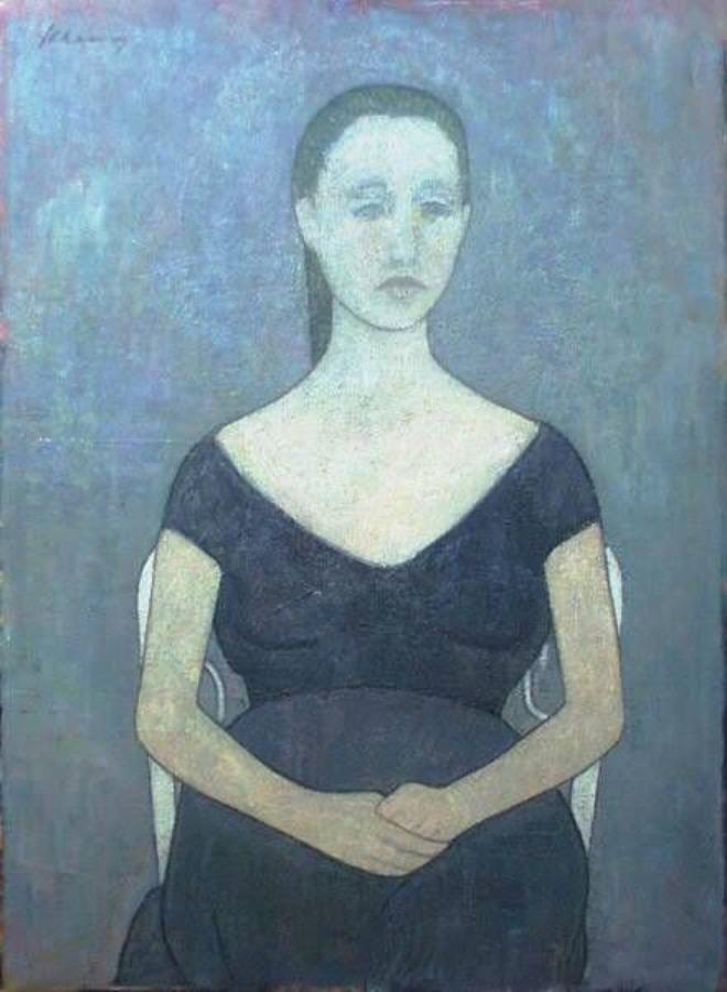 Jonge vrouw zittend op stoel Jules Chapon