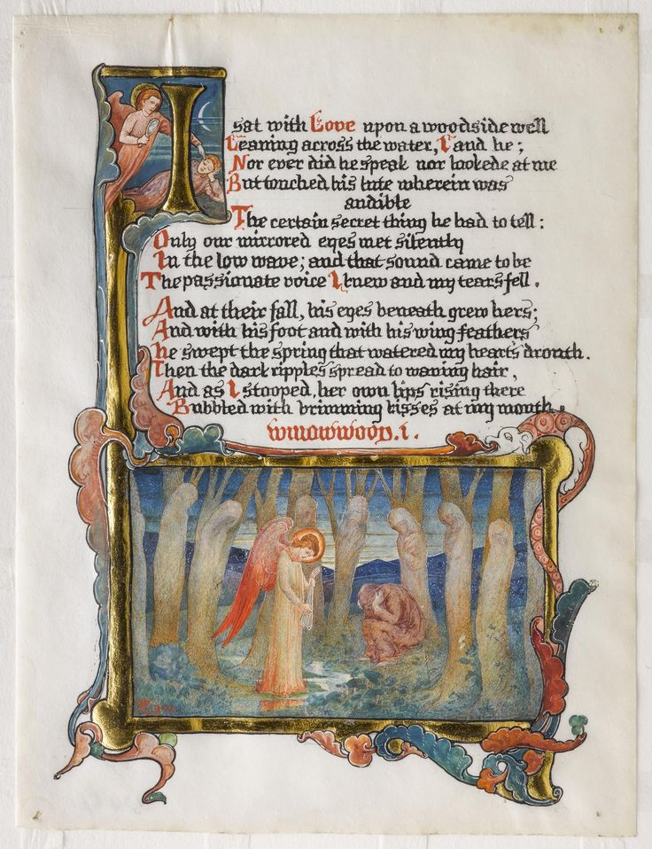 Willowwood I, page from an illuminated manuscript of the first Willowwood sonnet by Dante Gabriel Rossetti, one of four pages illustrating the four sonnets, ink, watercolour and gold leaf on vellum: British, by Phoebe Anna Traquair, 1890