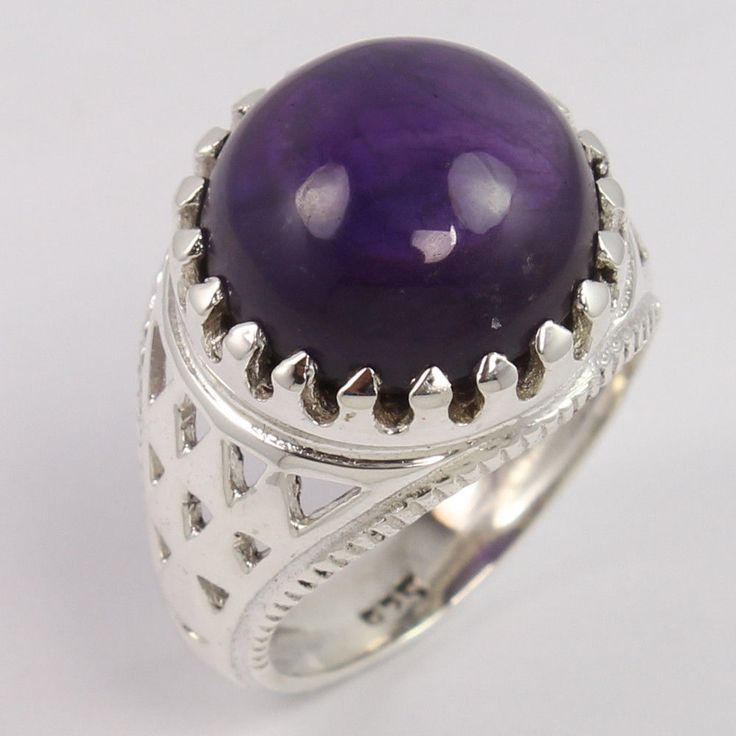 Chunky 925 Sterling Silver Men's Fashion Ring Size US 8.25 Natural AMETHYST Gems #Unbranded