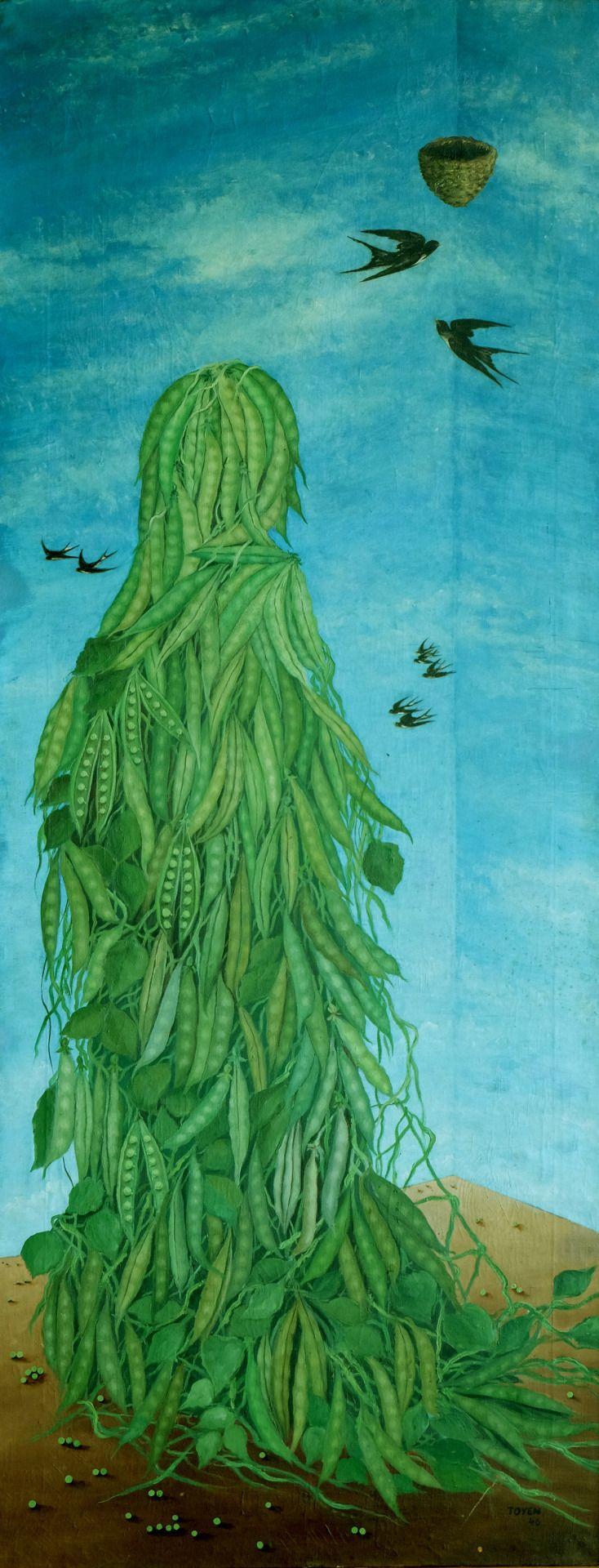 """amare-habeo: """" Toyen (or Marie Čermínová) (Czech, 1902-1980) The fate of Liberty, 1946 Oil on canvas, 165 x 65 cm """""""