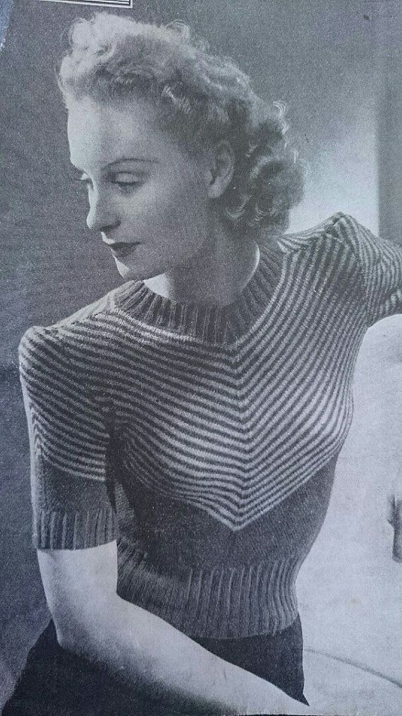 30s 40s design- Striking chevron blouse- Australian style -knitting ePattern b32 b34