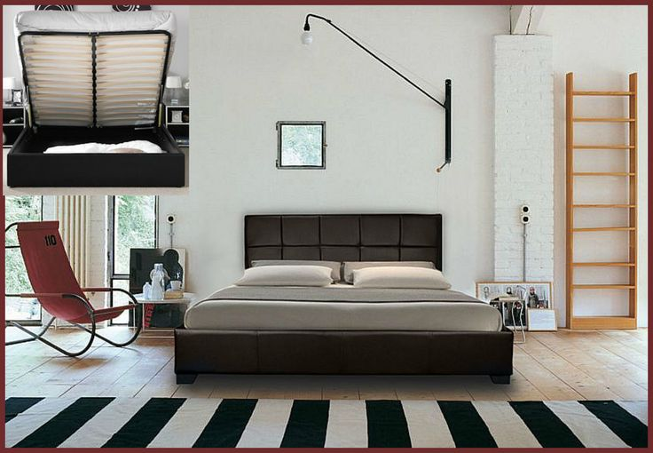 STORAGE OTTOMAN GAS LIFT DOUBLE OR KING SIZE LEATHER BED + MEMORY FOAM MATTRESS 125