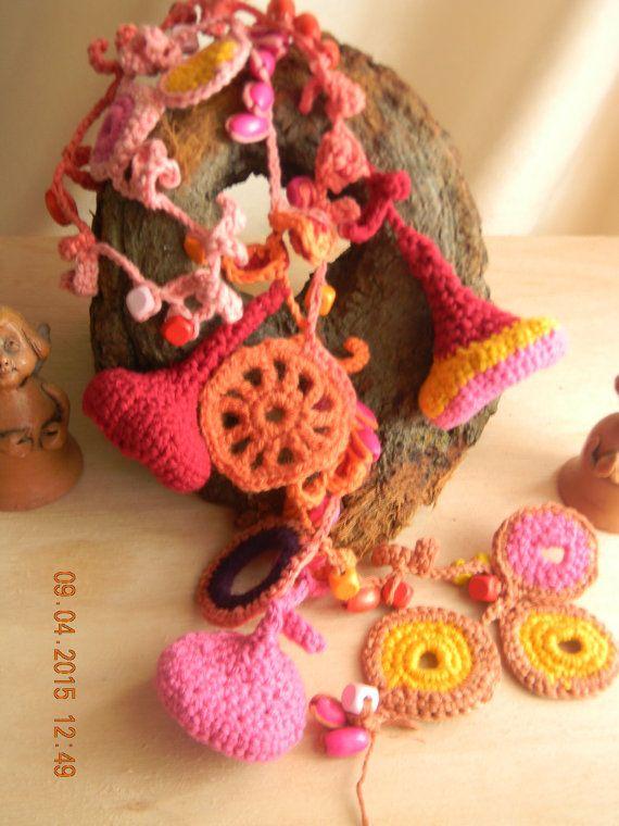 crocheted  scarf-necklace  Magic summer days by JadAngel on Etsy