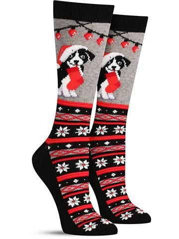 Christmas Border Collie Non Skid Socks | Womens