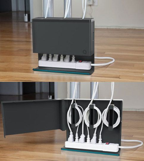 The Plug Hub is an under the desk powerstrip housing which not only conceals most everything away, but also offers three cord anchors to wrap around excess cabling.