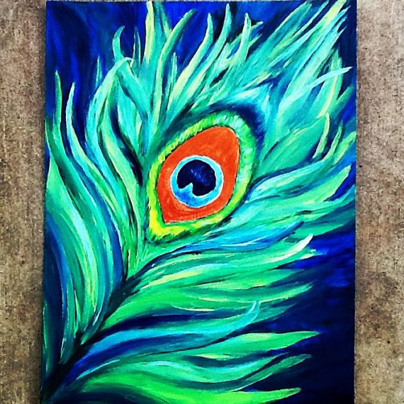 12x16 original abstract peacock feather painting by