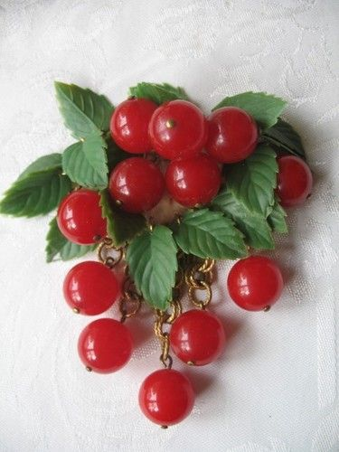 Vintage Cherry Brooch Lucite or Bakelite