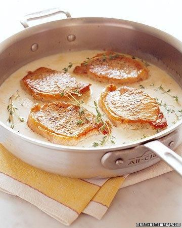 Pork Loin Braised In Milk Recipe: Pork Recipes, Martha Stewart Recipes, Maine Dishes, Food, Milk Recipes, Loin Braised, Porkloin, Pork Loin Chops, Pork Chops