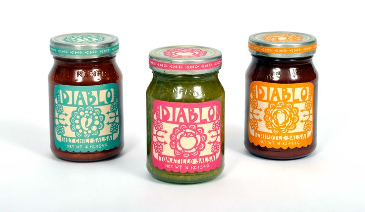 Diablo Salsa - Mexican Papel Picado themed packaging for Diablo Salsas and Hand Crafted Tortillas. Includes Hot Chili, Tomatillo, & Chipotle salsas, and Corn and Wheat tortillas