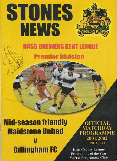 Steve Butler autograph signed Maidstone United football memorabilia programme Gillingham Stones Gills friendly