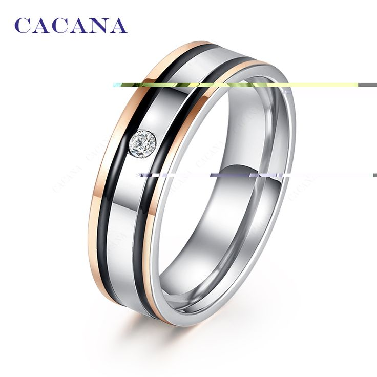 CACANA Stainless Steel Rings For Women Elegant Double Black Border With A CZ Diamond Fashion Jewelry Wholesale NO.R136