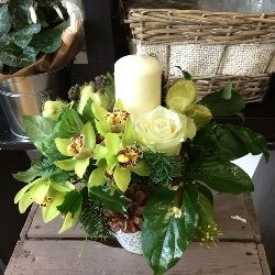 Winter Candle Arrangement in Whites