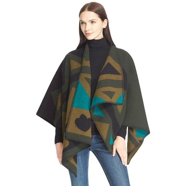 Burberry Brit Angular Patchwork Wool & CashmerePoncho ($795) ❤ liked on Polyvore featuring outerwear, olive green, woolen cape, burberry, wool cape, cape poncho and wool poncho