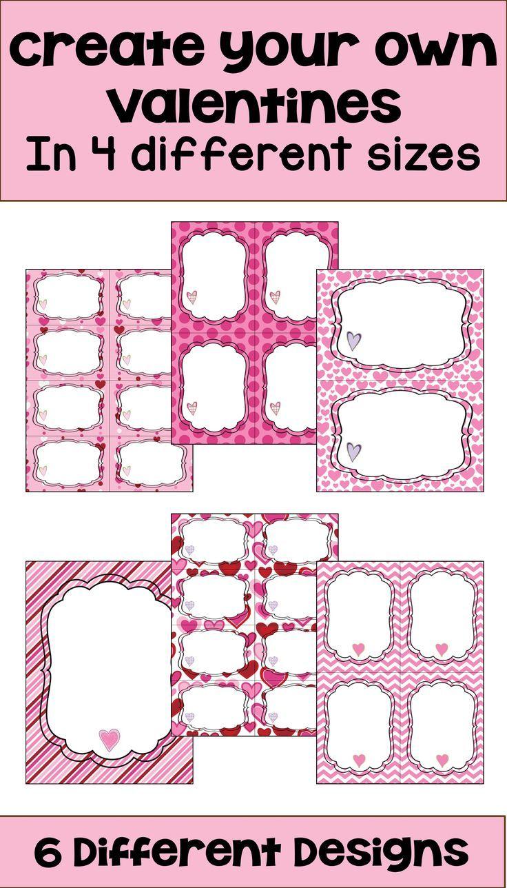 Best 25 make flash cards ideas on pinterest alphabetical list editable valentines 4 sizes and 6 different designs gamestrikefo Gallery