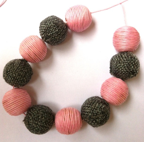 Necklace with grey and pink beads (made to order). $20.00, via Etsy.