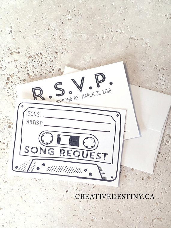 New Includes Envelopes 50 Printed Cassette Tape Song Request Rsvp Cards With Envelopes Song Request Custom Invitations Rsvp