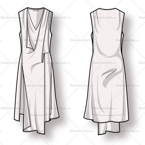 Women's Draped Asymmetrical Dress Fashion Flat Template