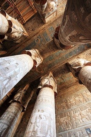 Hypostyle hall in dendera temple egypt