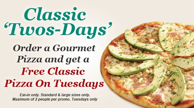 Panarottis special - Order a Gourmet Pizza and get a FREE pizza on Tuesdays!