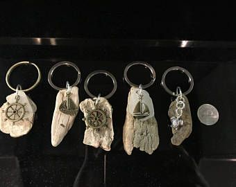 Driftwood Keychains in Beach Theme