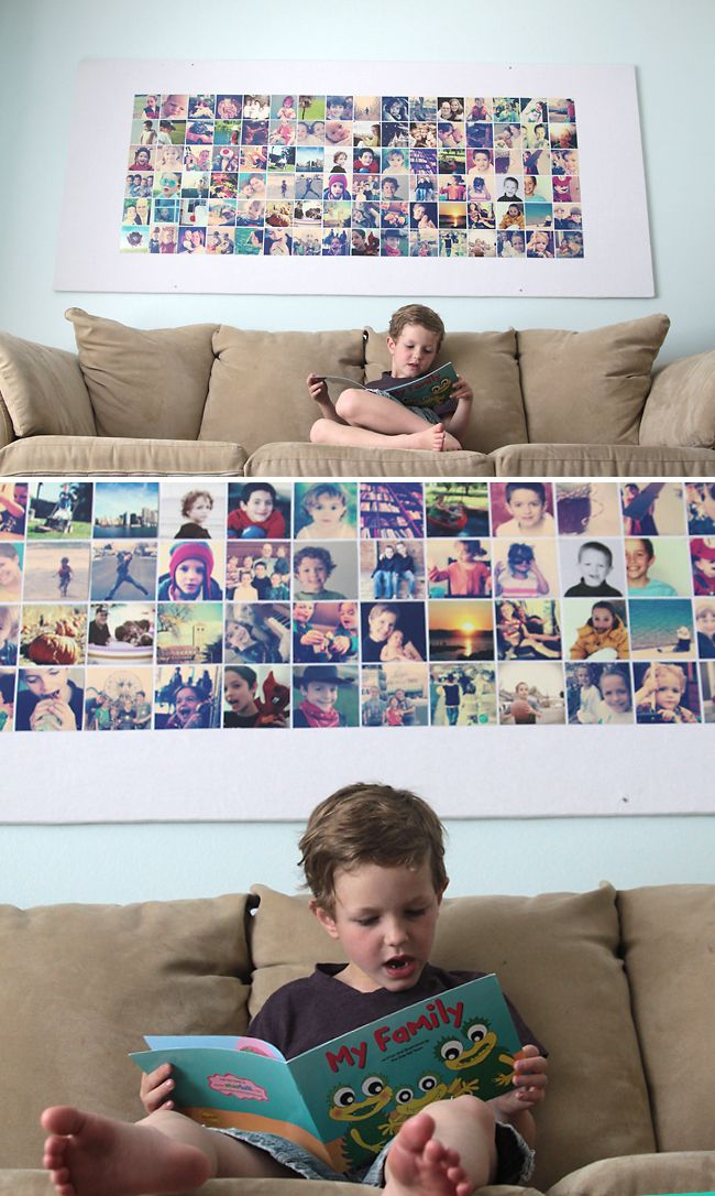 Awesome DIY tutorial! Learn to make this huge photo wall bulletin board for less than 20 bucks. Perfect for instagram or every day photos. from www.itsalwaysautumn.com