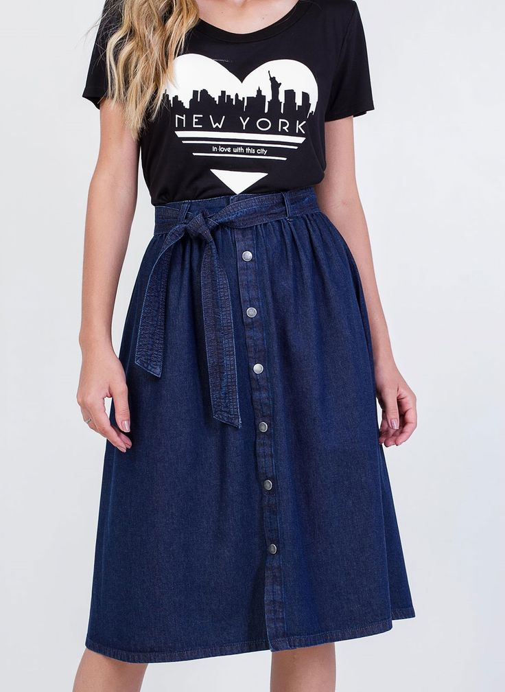 Saia Midi em Jeans