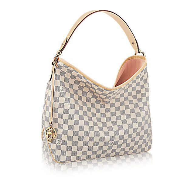 Discover Louis Vuitton Delightful MM:  The Delightful MM embodies everyday elegance. In supple yet resistant Damier Azur canvas, its lightweight feel, generous interior and luxuriously soft embossed handle make it chic and practical.
