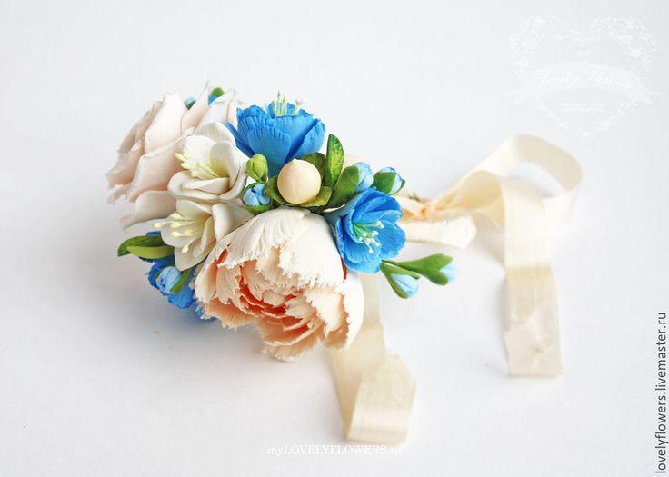 Купить Браслет с ранункулюсом из полимерной глины - белый, цветы ручной работы, свадебные аксессуары, браслет