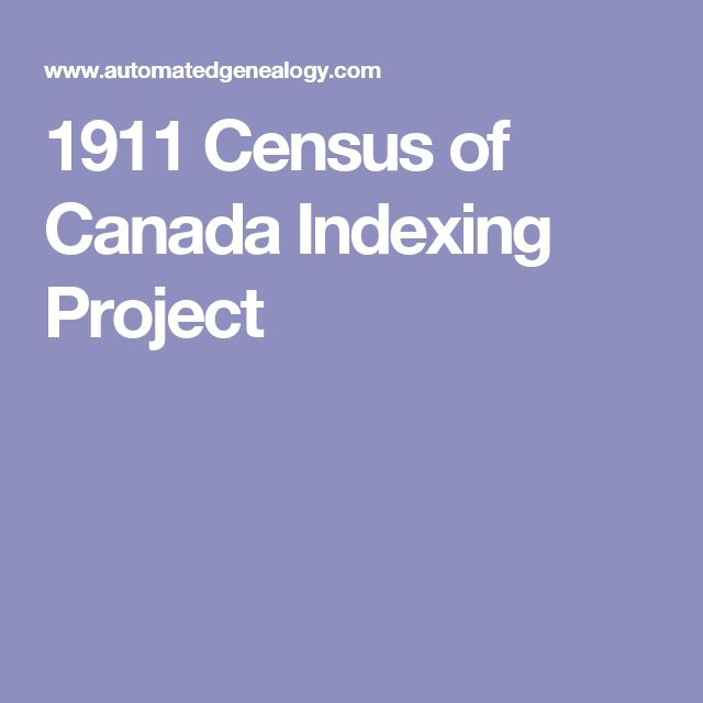1911 Census of Canada Indexing Project