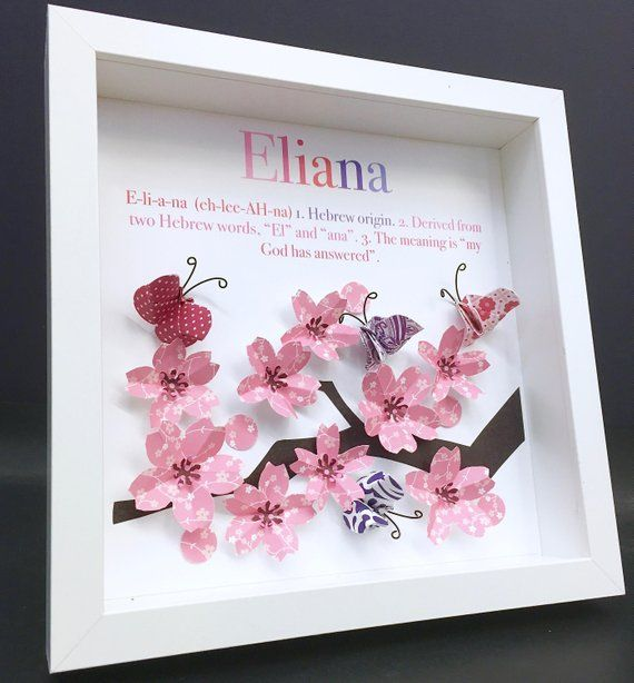 Personalized Baby Girl Cherry Blossoms Frame With Name Origin Etsy Stanza Bimba Artigianato Prodotti Per Neonati