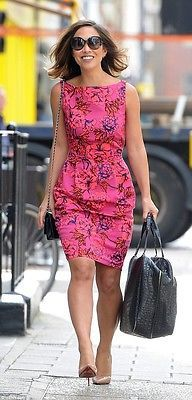 NEW MYLEENE KLASS HOT PINK FLORAL JACQUARD PENCIL DRESS BLOGGERS FAVE 8 to 16