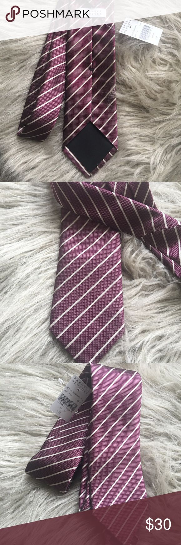 NWT Barneys New York Stripes Slim Tie Perfect over a fresh white button down!! Bundle and save!! The color is wine color, very elegant!! Barneys New York Accessories Ties
