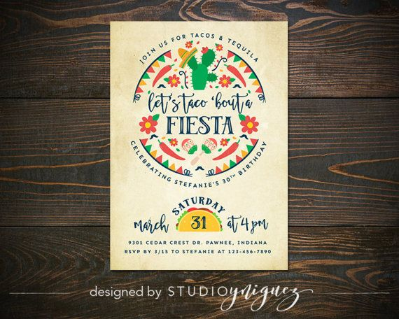 """Let's Taco 'Bout a Fiesta Birthday Party Printable Invitation, Printable 5"""" x 7"""" Birthday Party Invitation, Fiesta Theme Invitation"""