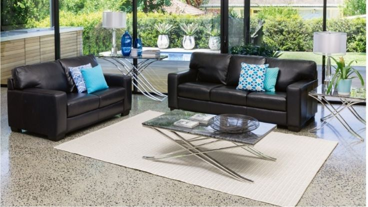 Rhone 2 piece leather lounge suite lounges living room - Harvey norman living room furniture ...