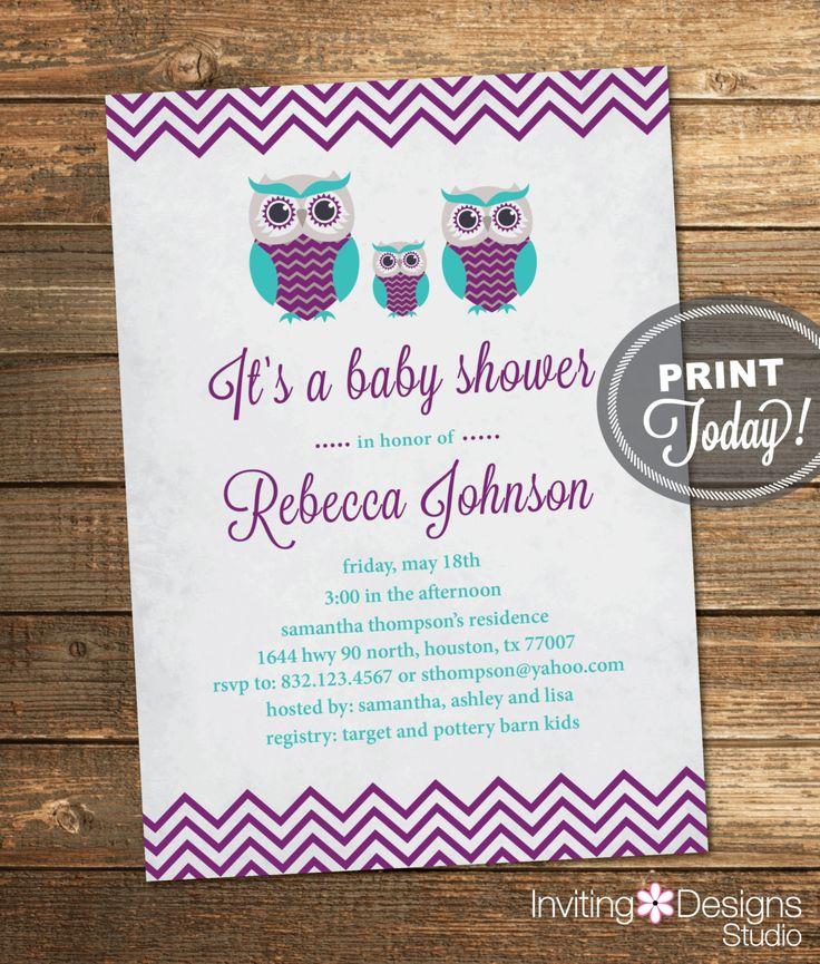 Vintage lavender owl baby shower owl baby shower invitation girl vintage purple teal filmwisefo