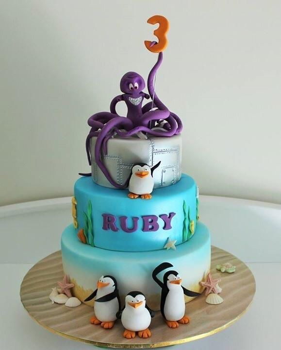 I made this for my 3 year old daughter who is completely obsessed with the Penguins of Mafagascar. Cake features Dave the octopus and the Penguins, skipper, Kowalski, Rico and Private.