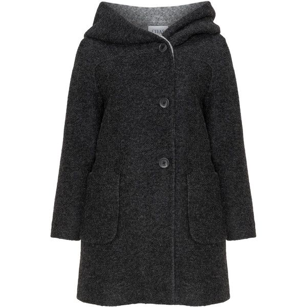 Civas Anthracite / Grey Plus Size Hooded wool coat (£104) ❤ liked on Polyvore featuring outerwear, coats, anthracite, plus size, plus size long coats, gray coat, hooded coat, long coat and plus size womens wool coats